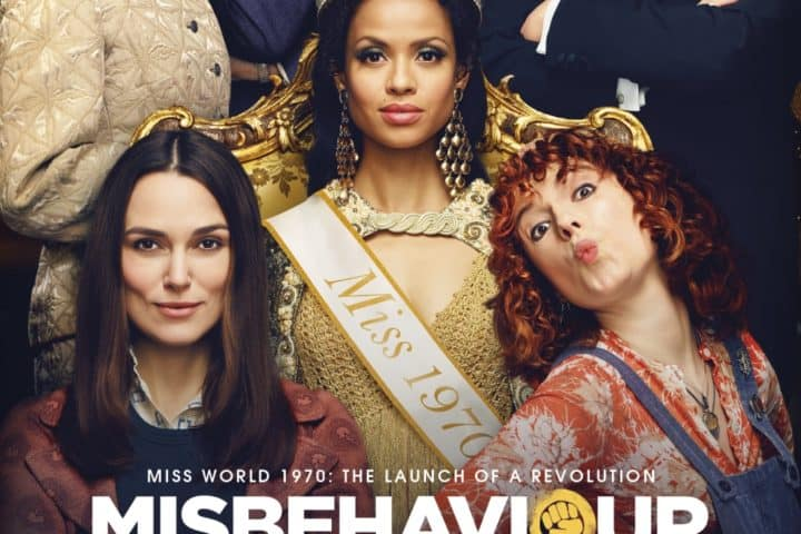 Misbehaviour poster featuring Keira Knightly, Jessie Buckley and Gugu Mbatha-Raw