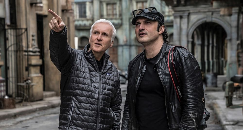 Alita: Battle Angel writer and producer, James Cameron, with director Robert Rodriguez
